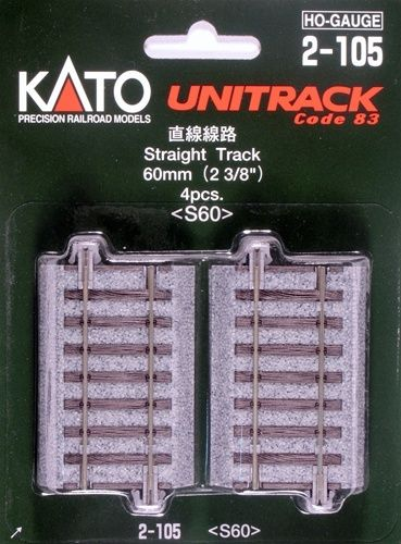 Gleis, gerade, 60 mm, 4 Stück <br/>KATO 7002105