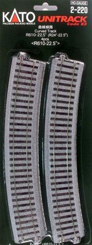 Gleis, gebogen, r 610-22,5°, 4 Stück <br/>KATO 7002220