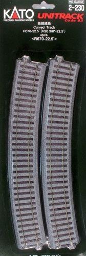 Gleis, gebogen, r 670, 22,5°, 4 Stück <br/>KATO 7002230