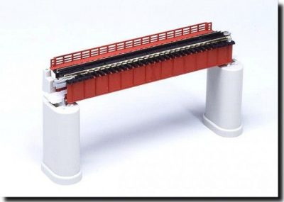 Brücke, Vorflut-Brücke rot mit Gleis <br/>KATO 7077205