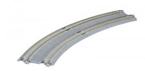 Doppelgleis mit Betonschwelle, gebogen, überhöht, R414/381 mm, 22