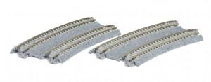 Doppelgleis mit Betonschwelle, gebogen, überhöht, R315/282 mm, 22
