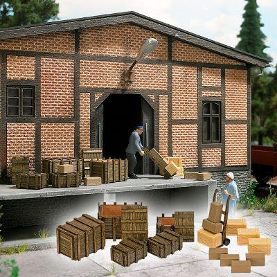 Holzkisten, Pakete und Sackkarren <br/>BUSCH 10260