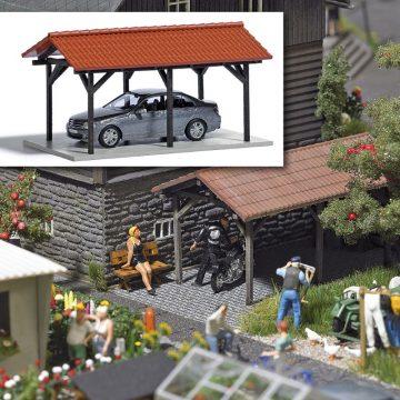 Carport mit Automodell <br/>BUSCH 1481 1