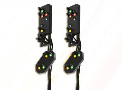 Licht-Ausfahrsignal mit Vor-Signal (DB 1969), Signalkopf für Signalbrücke, Multiplex-Technologie, 2 Stück <br/>Viessmann 4751