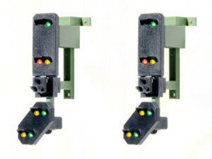 Licht-Einfahrsignal mit Vor-Signal (DB 1969), Signalkopf für Signalbrücke, Multiplex-Technologie, 2 Stück <br/>Viessmann 4753