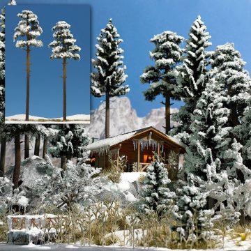 Kiefern, verschneit, 2 Stück <br/>BUSCH 6156 1