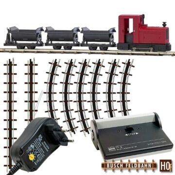 BUSCH 12010 <br/>Feldbahn Start-Set mit Kipploren und Netzgerät 1