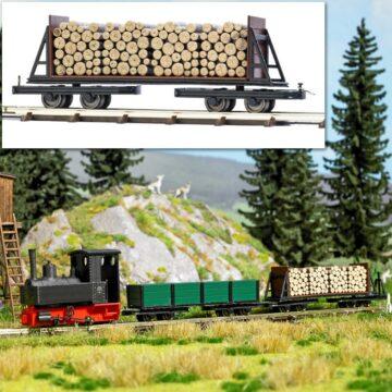 BUSCH 12247 <br/>Drehgestell-Stirnwandwagen mit Holzladung 1