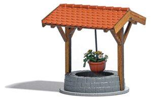 BUSCH 1524 <br/>Brunnen mit Blumenampel
