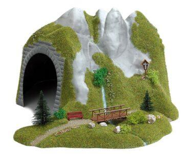 BUSCH 3016 <br/>Tunnel mit Bach und Holzsteg 1