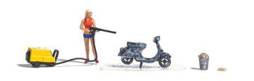 BUSCH 7833 <br/>A-Set: Motorrollerwäsche H0 1