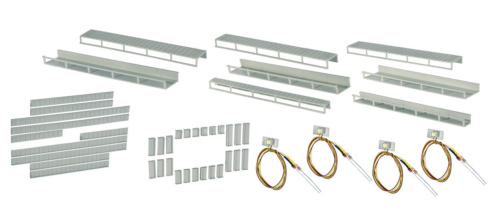Viessmann 6045 <br/>Startset Etageninnenbeleuchtung, 8 Schienen,4 verschiedene Größen, 4 LEDs weiß