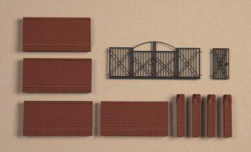 Auhagen 41622 <br/>Einfriedung mit Tore  1