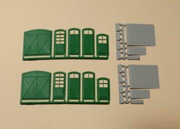 Auhagen 80250 <br/>Tore und Türen grün, Stufen, Rampen  1