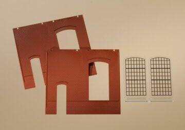 Auhagen 80502 <br/>Wände 2325B rot, Industriefenster E 1