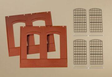 Auhagen 80503 <br/>Wände 2325A rot, Industriefenster E 1