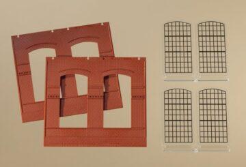 Auhagen 80504 <br/>Wände 2326B rot, Industriefenster E 1
