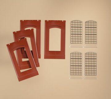 Auhagen 80509 <br/>Wände 2342N rot, Industriefenster E 1