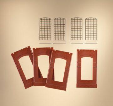 Auhagen 80510 <br/>Wände 2342J rot, Industriefenster E 1