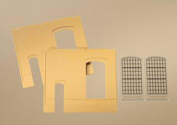 Auhagen 80602 <br/>Wände 2325B gelb, Industriefenster E 1