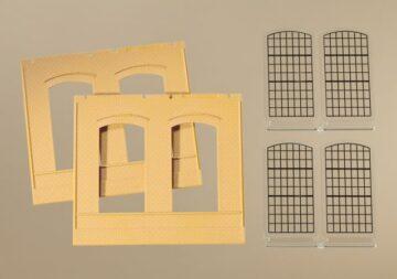 Auhagen 80603 <br/>Wände 2325A gelb, Industriefenster E 1