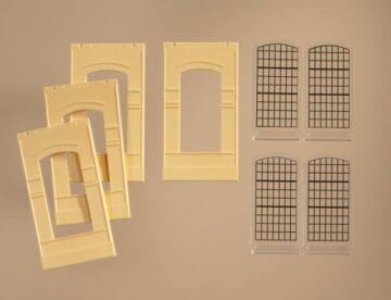 Auhagen 80610 <br/>Wände 2342J gelb, Industriefenster E 1