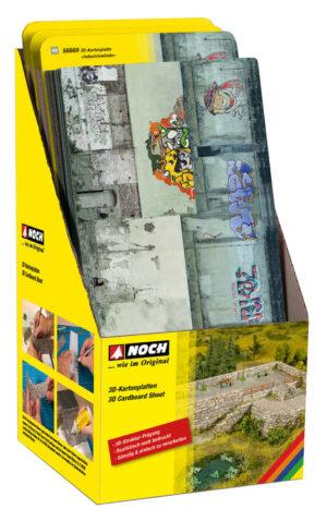 NOCH 56601 <br/>Display, je 8 Stück 56605 bis 56669 = 112 Stück 3D-Kartonplatten H0